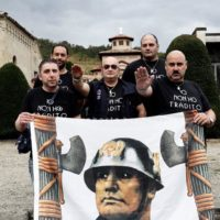 Fascists coming from all over Italy celebrate the anniversary of the 1922 march on Rome, when the fascist movement led by Benito Mussolini took power
