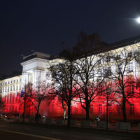 Governamental buildings lighted with the white and red color of the national flag for the 100th anniversary of Poland independence