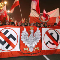 The march to celebrate the independence was attended by many ordinary polish people and also by extreme-right movements such as ONR from Poland. The motto of the march was God, Honour and Homeland