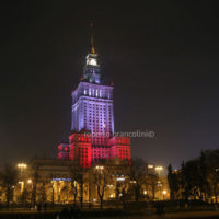 The march to celebrate the independence was attended by many ordinary polish people and also by extreme-right movements such as ONR from Poland. In this photo a governamental building lightened with the colours of the polish flag