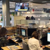 Gazeta Wyborzca is the most important newspaper in Poland, it is strongly critic with the right-wing and ultra-catholic governament appointed by president Andrzej Duda. in this photo in the background a tv channel shows a story about a story of corruption brought to light by Gazeta Wyborcza