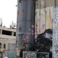 Graffiti of protests against the american president Donald Trump graffiti for the opening ofthe american embassy in Jerusalem painted on the separation wall